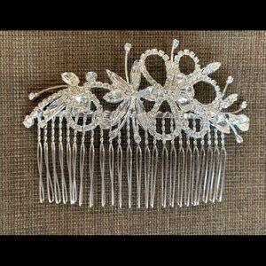 Side Hair Comb rhinestone silver crystal women